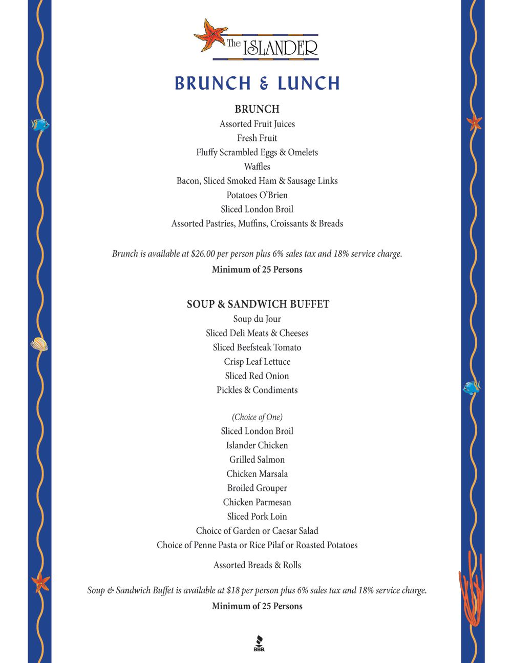 Brunch Lunch Menu