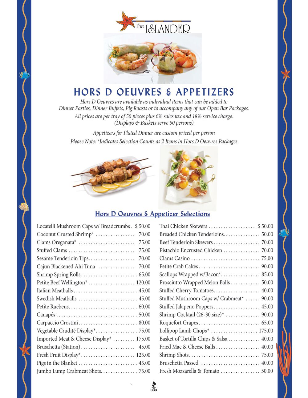 Hors Doeuvres Menu