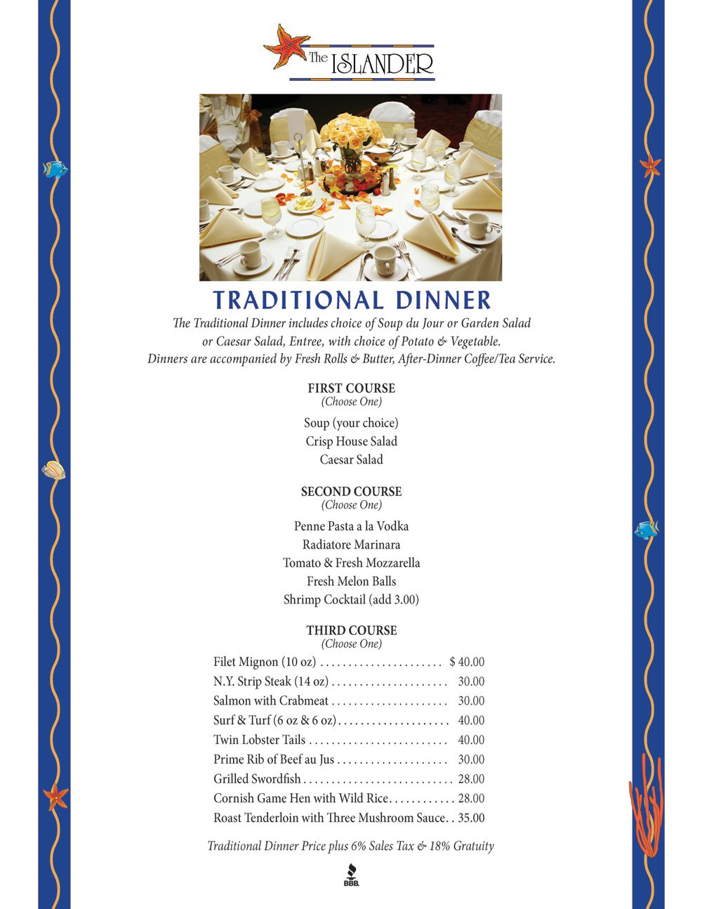 Traditional Dinner Menu