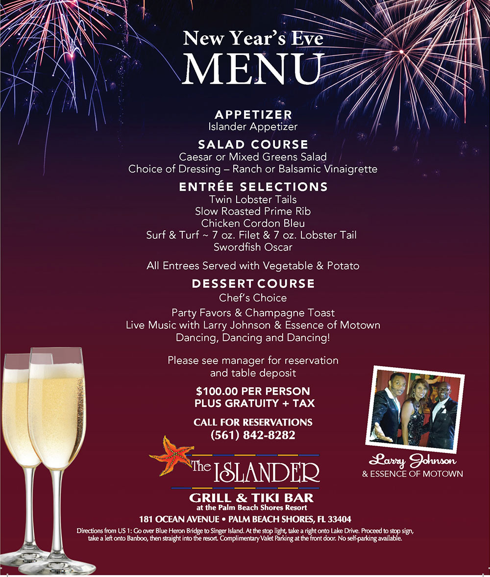 New Year's Eve Dinner Menu at The Islander